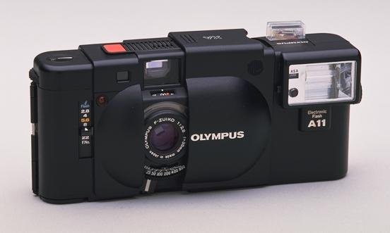 olympus xa with a11 flash attached
